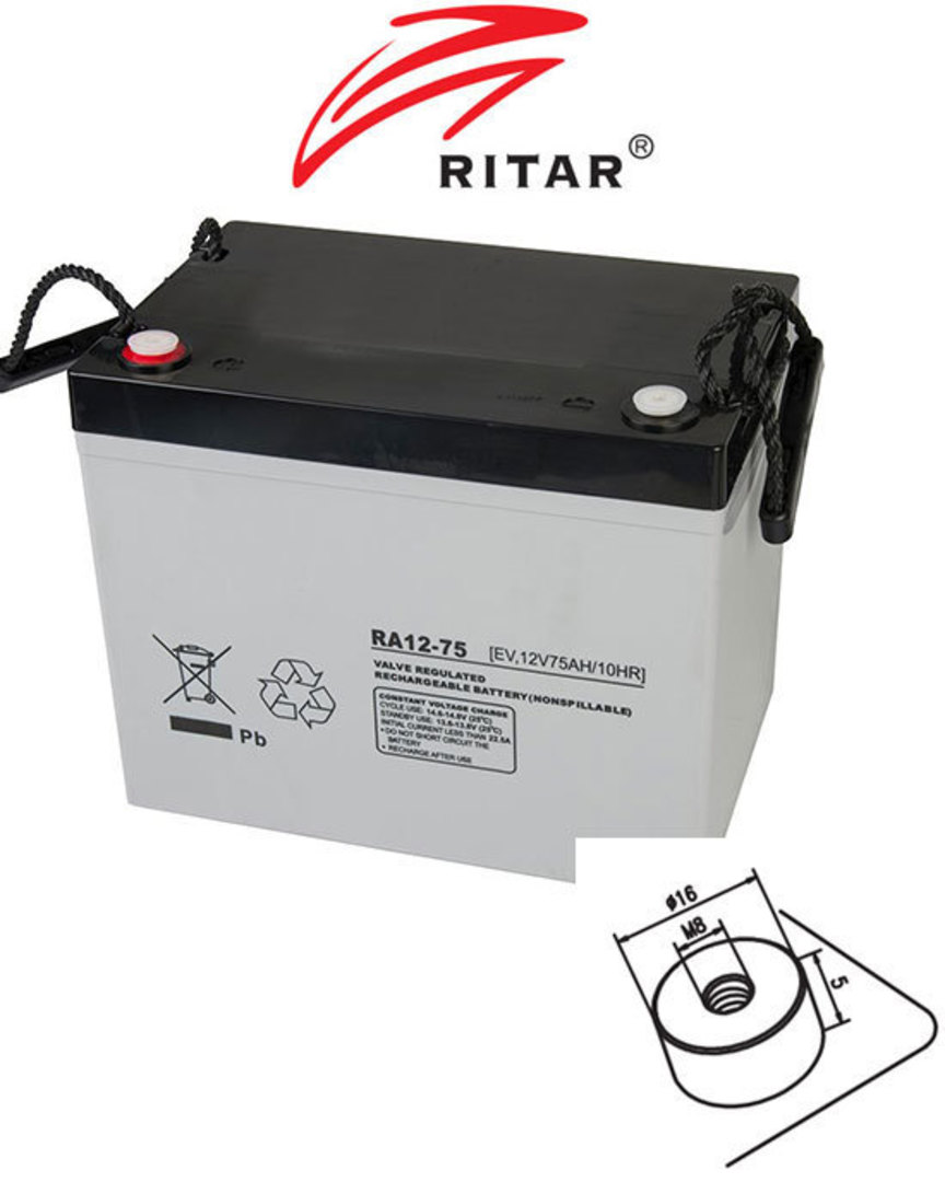 RITAR RA12-75EV 12V 75AH Deep Cycle SLA Battery image 0