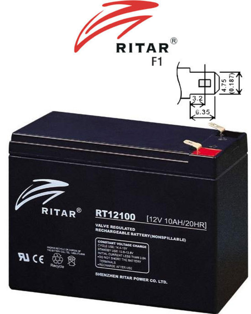 RITAR RT12100S 12V 10AH SLA battery image 0