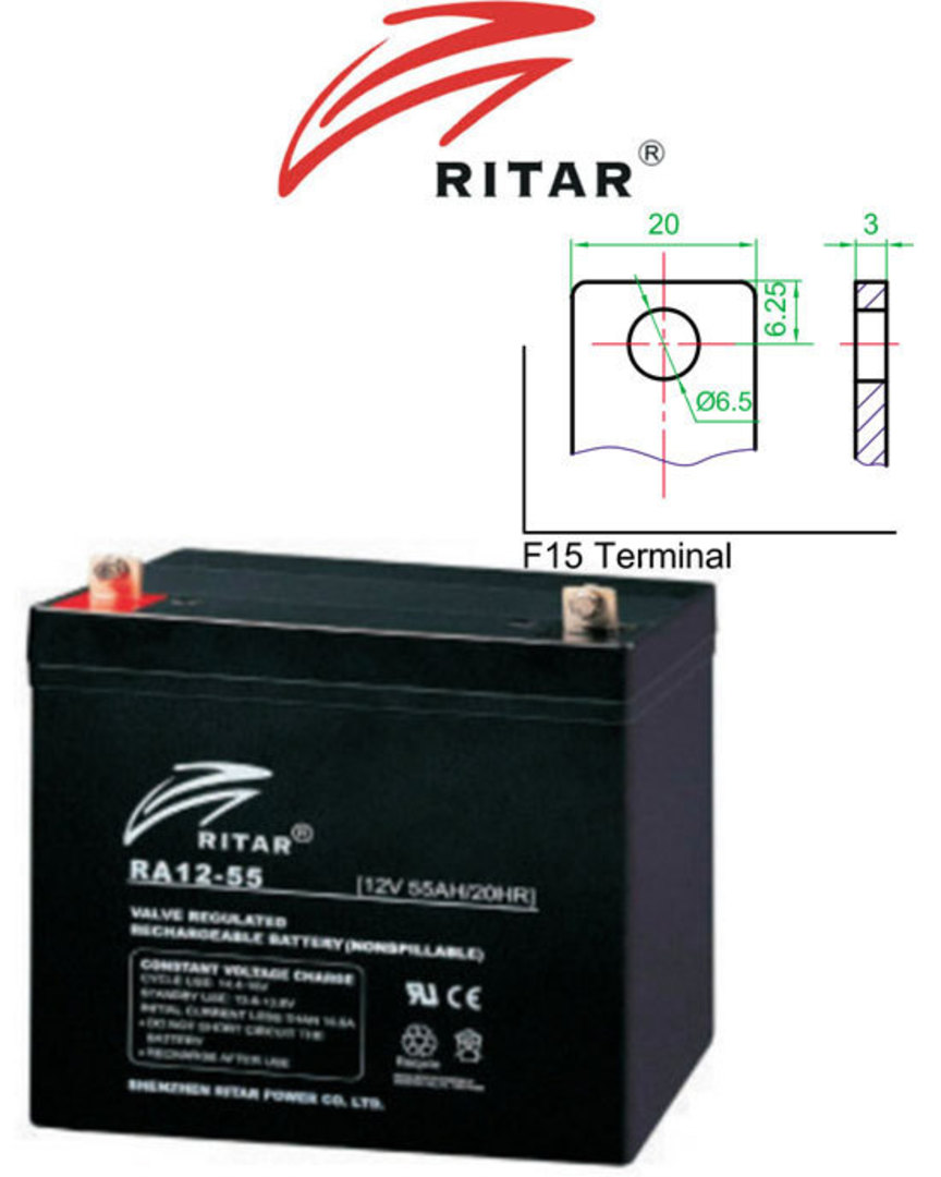 RITAR RA12-55D 12V 55AH Deep Cycle SLA Battery image 0