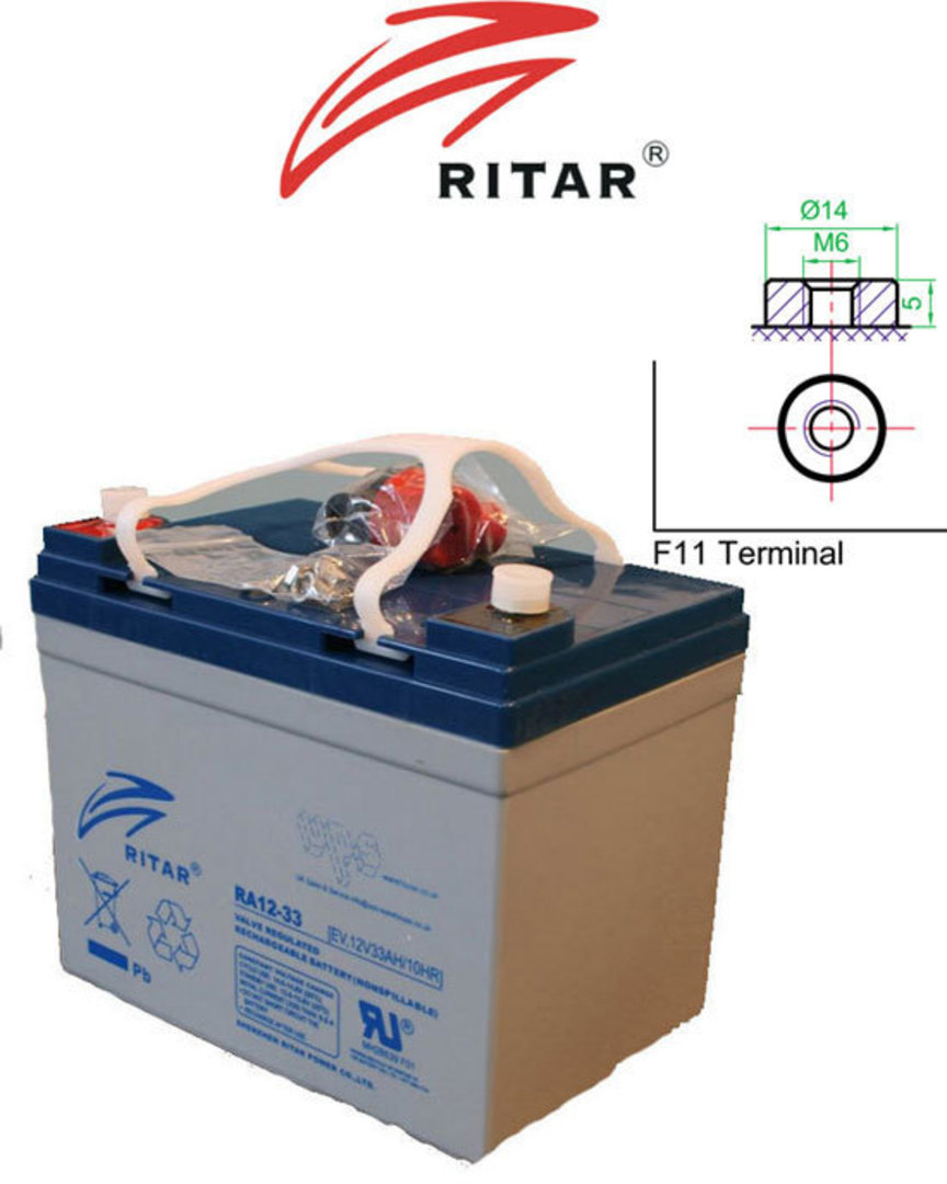 RITAR RA12-33EV 12V 33AH Deep Cycle SLA Battery image 0