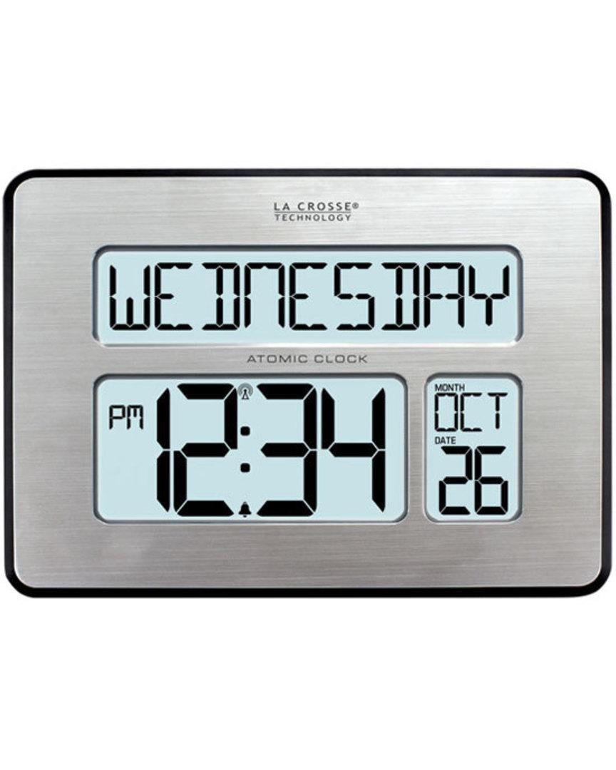 513-1419BLV4 La Crosse Digital Back Light Wall Clock with Day Display image 0