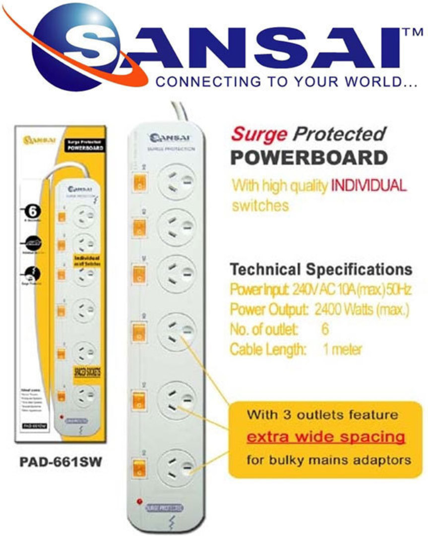 SANSAI 6 Way Surge Protected Power Board image 0