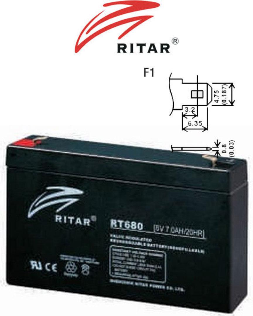 RITAR RT680 6V 8AH SLA battery image 1