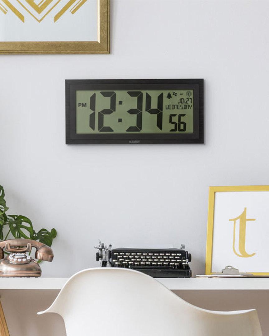515-1419 La Crosse Large Textured Wall Clock with Indoor Temp image 2