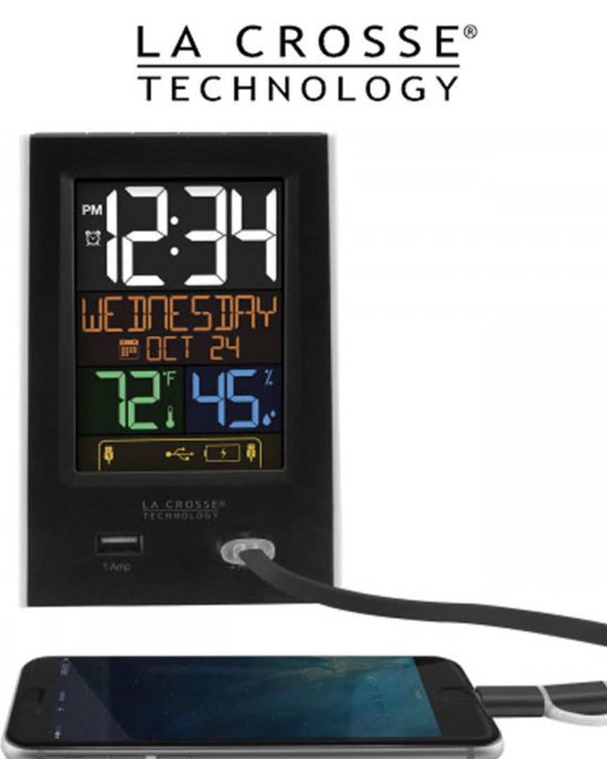 C86224 La Crosse Alarm Clock 2 USB Charging Station image 0
