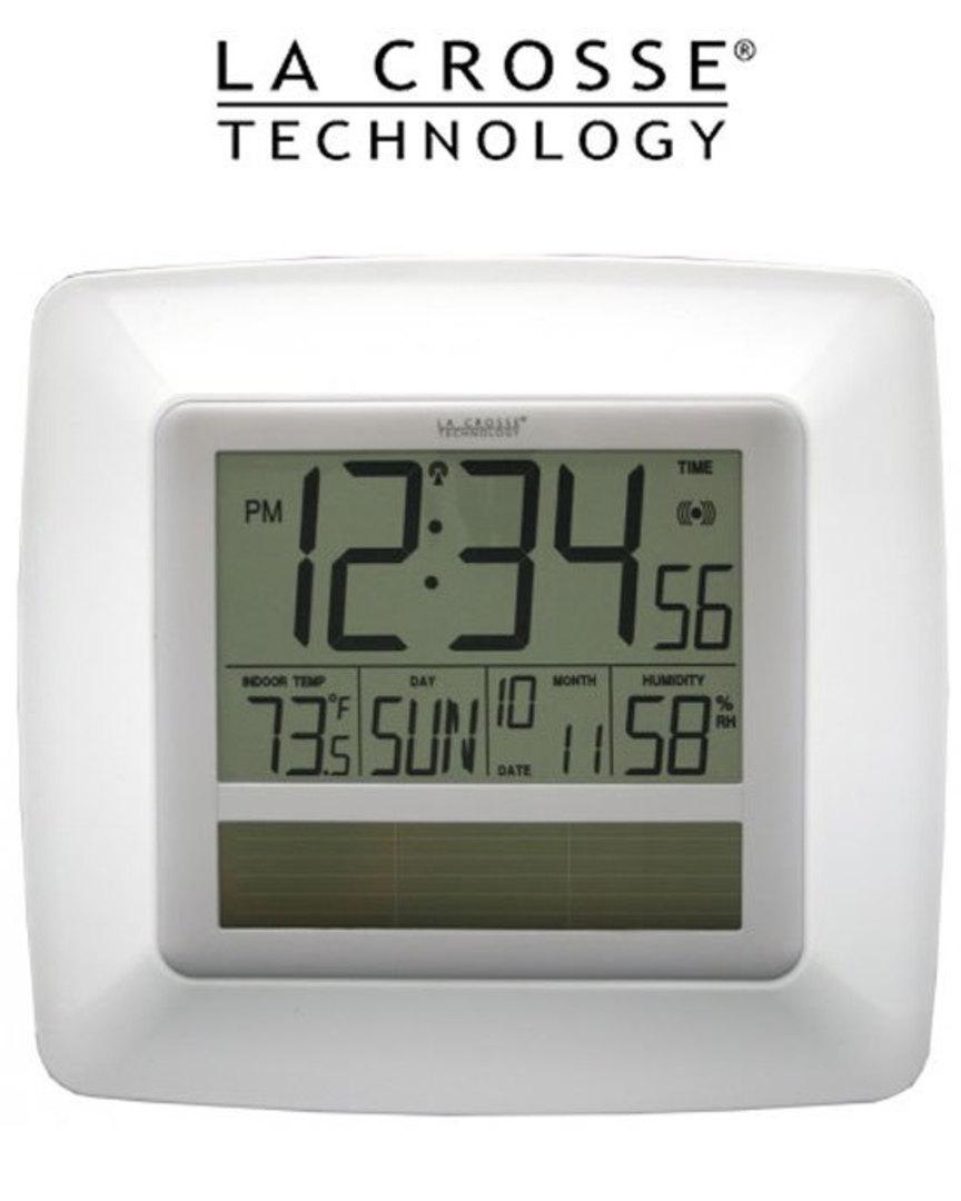 WT8112U Solar Digital Wall Clock Indoor Temp Humidity image 0