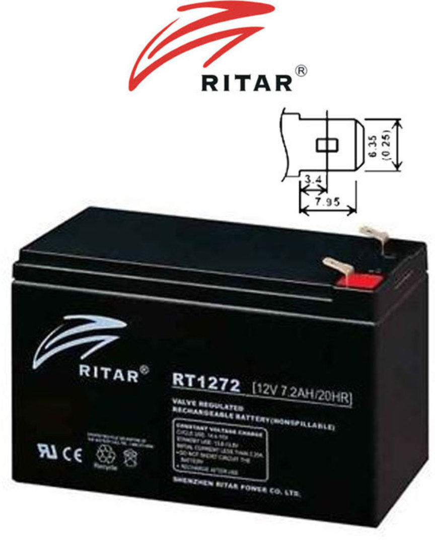 RITAR RT1272 12V 7.2AH SLA Battery 6.35mm Terminal image 2