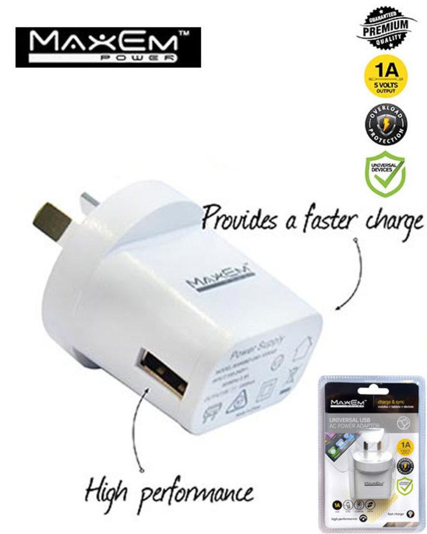MAXEM USB 1A Power Adaptor image 0