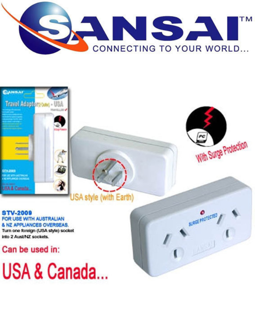SANSAI Travel Double Adaptor for NZ to USA Canada image 0