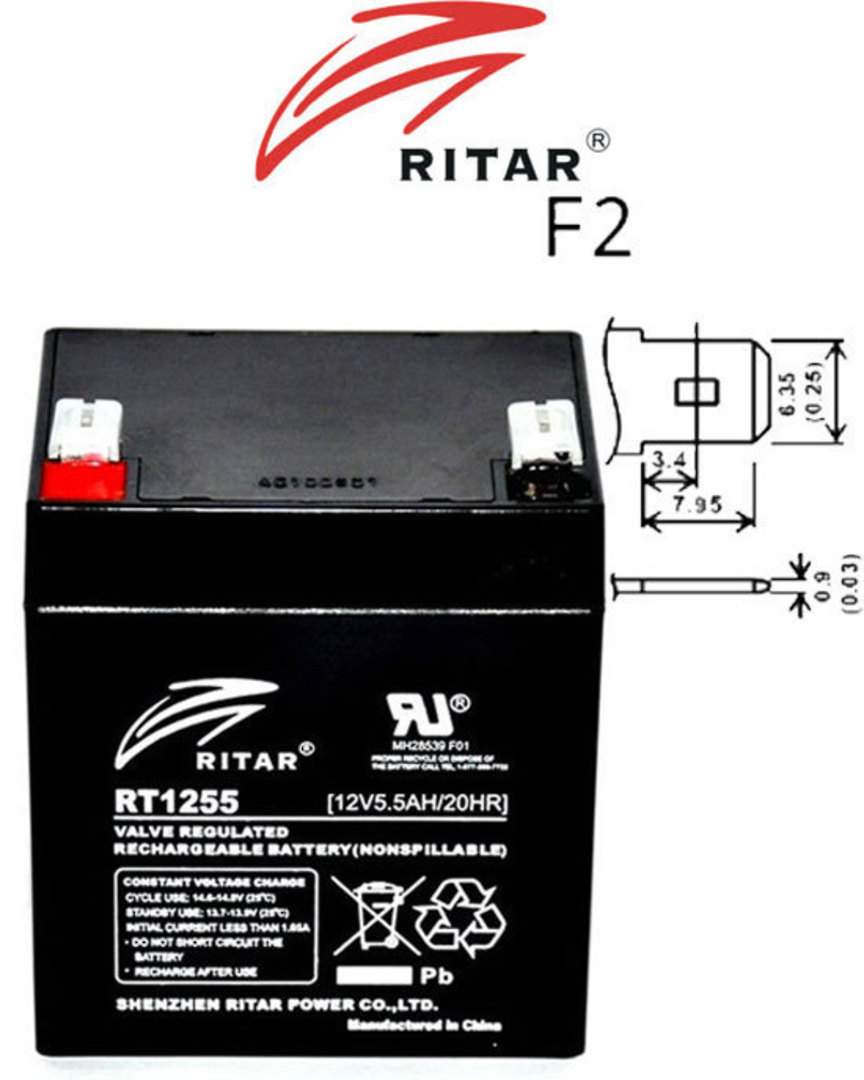 RITAR RT1255 12V 5.5AH SLA battery image 0