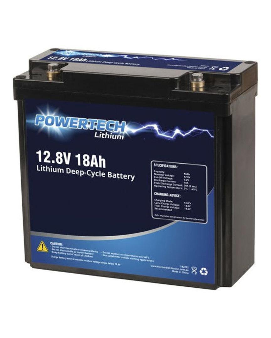 POWERTECH 12.8V 18Ah Lithium LiFePO4 Deep Cycle Battery image 0