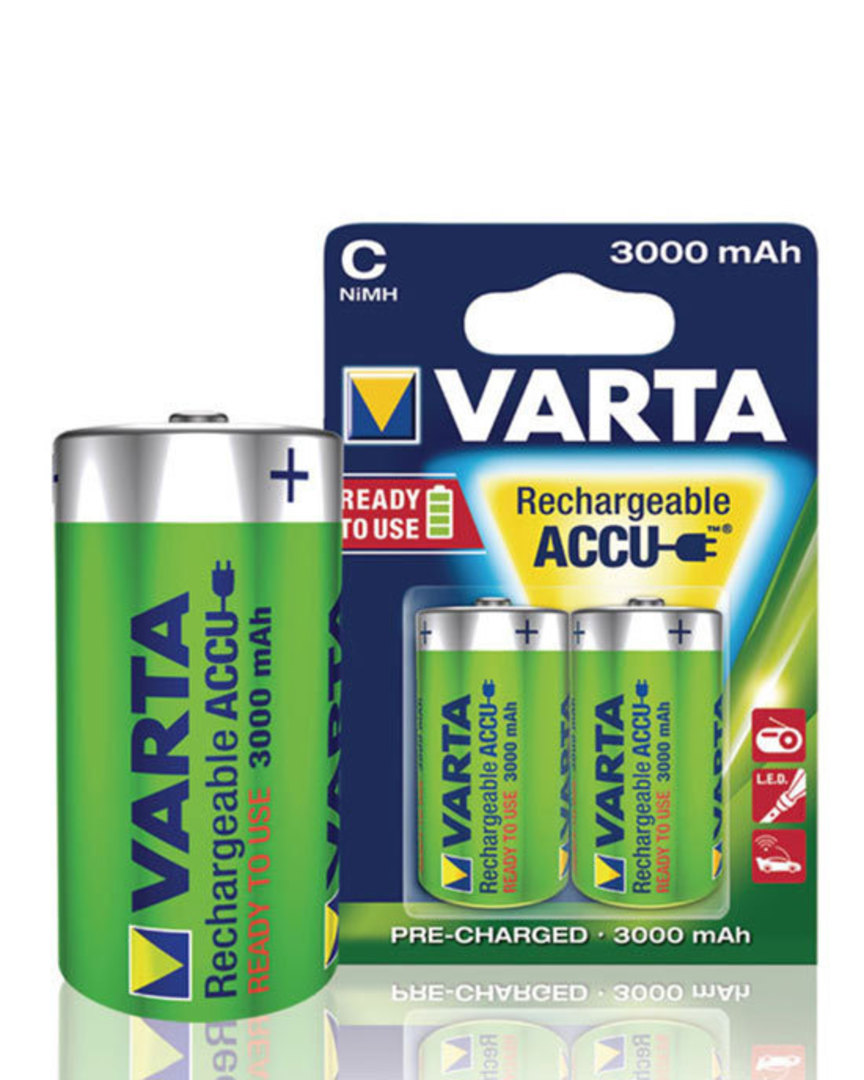 VARTA C 3000mAh Pre-Charged NiMH Rechargeable Battery image 0