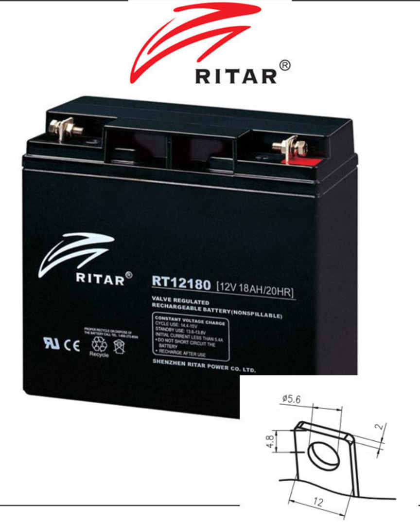 RITAR RT12180 12V 18AH SLA battery F3 Plug image 0