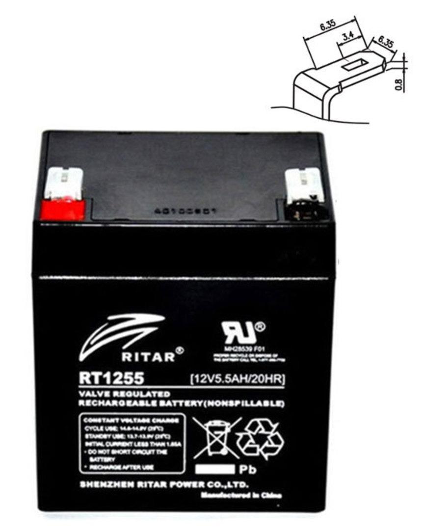 RITAR RT1255 12V 5.5AH SLA battery image 0