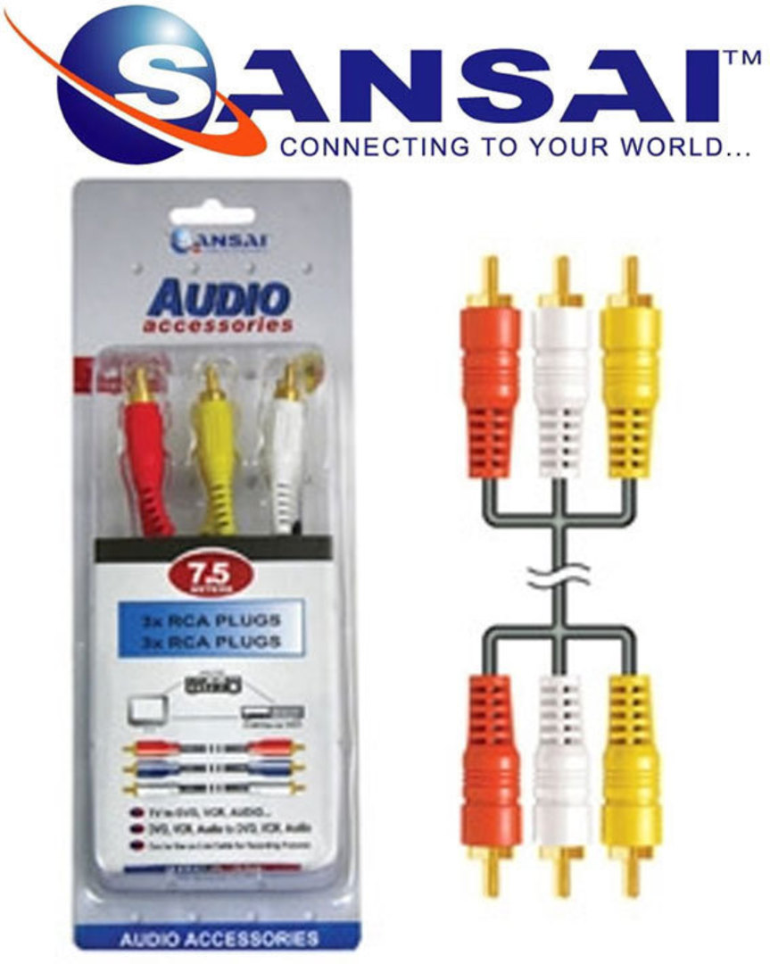 SANSAI 3 RCA Plugs to Plugs 7.5m image 1