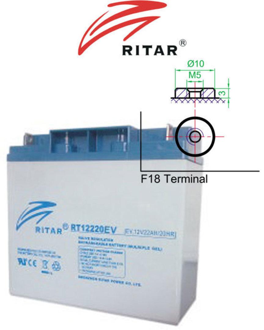 RITAR RT12220EV 12V 22AH Deep Cycle SLA Battery image 0
