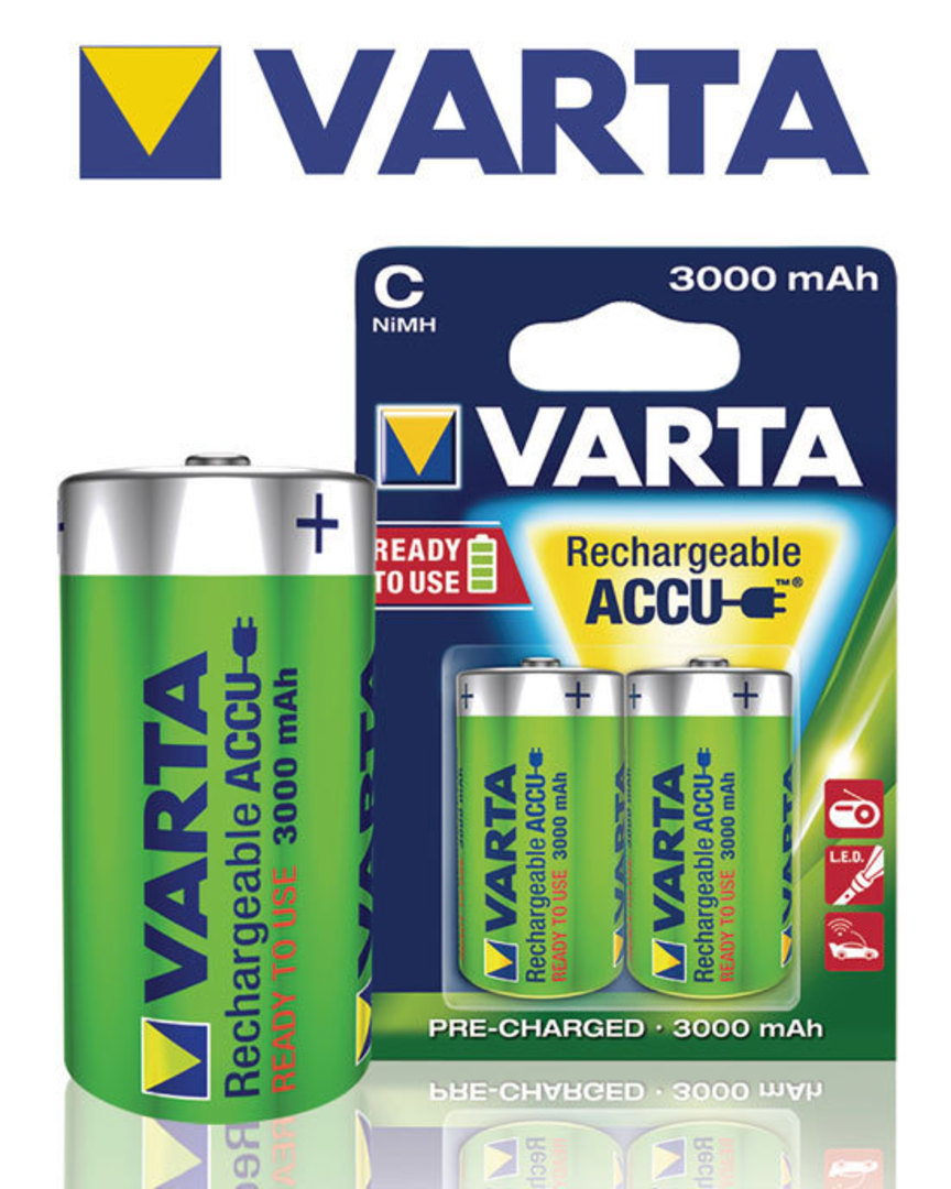 VARTA C 3000mAh Pre-Charged NiMH Rechargeable Battery image 1