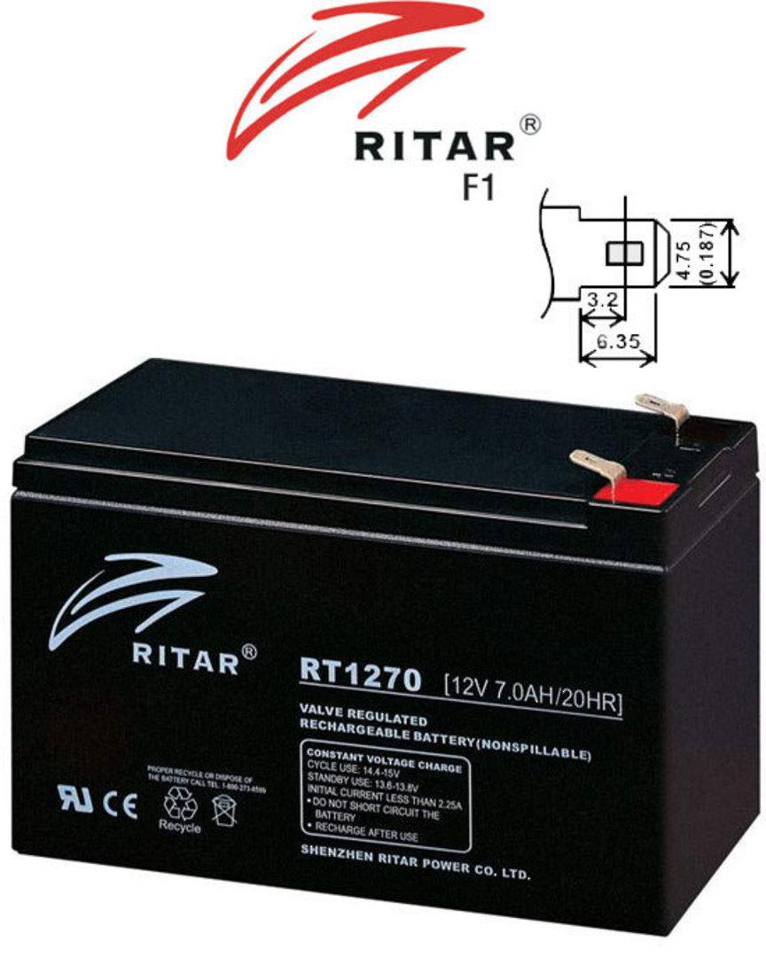 RITAR RT1270 12V 7AH SLA battery image 2