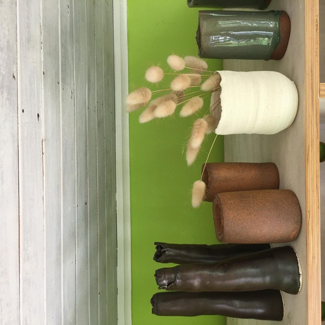 Red stoneware arrangement vase image 8