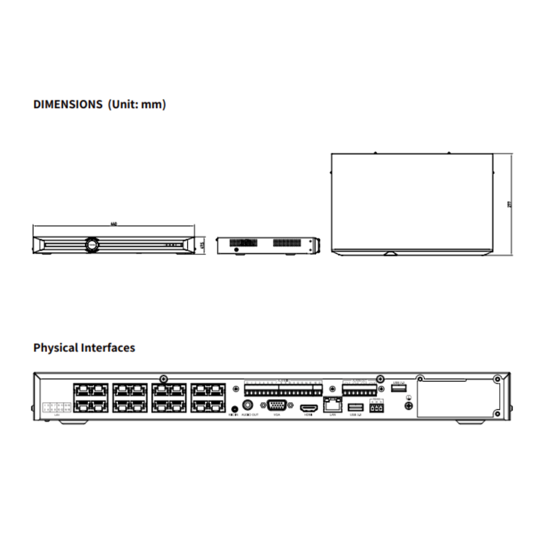 FERN360 - 20Ch Network Video Recorder with 16x PoE ports, 320Mbps - (No HDD) image 3