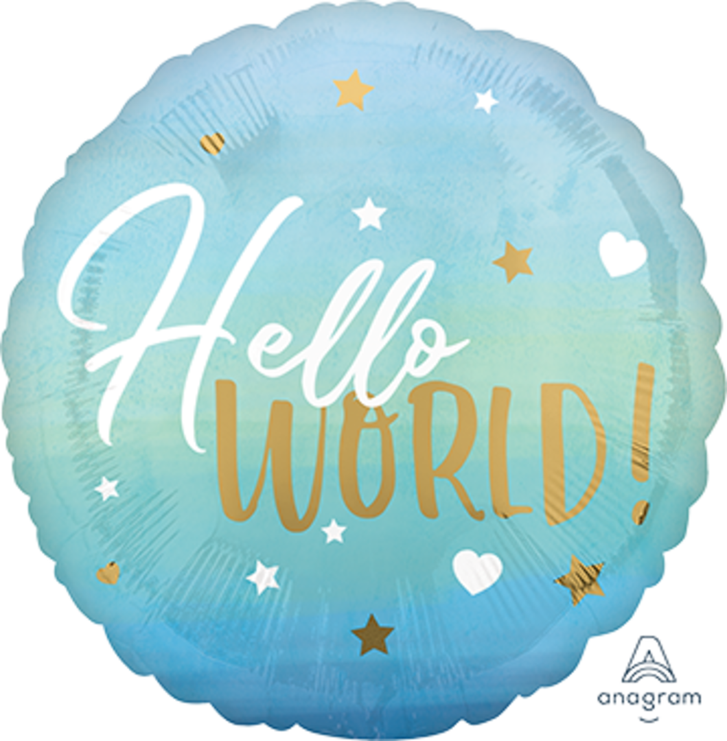 Hello World Baby Balloon (BLUE), with helium (Multiple colours/designs available) image 0