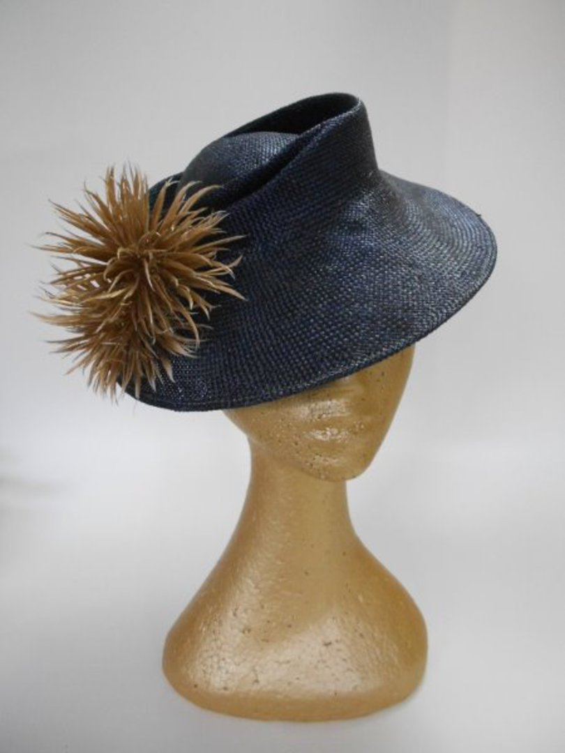 Navy blue straw tilt hat $180 image 0
