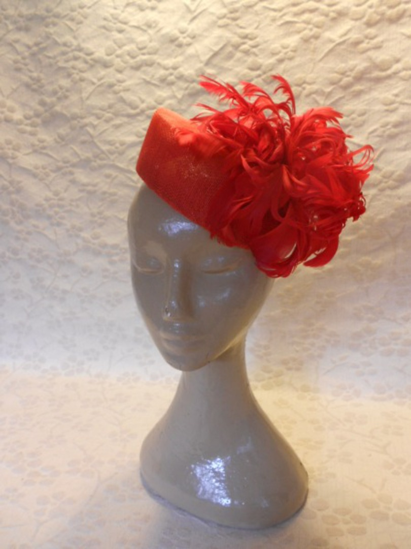 Red Feather Flower Hat $258 image 0