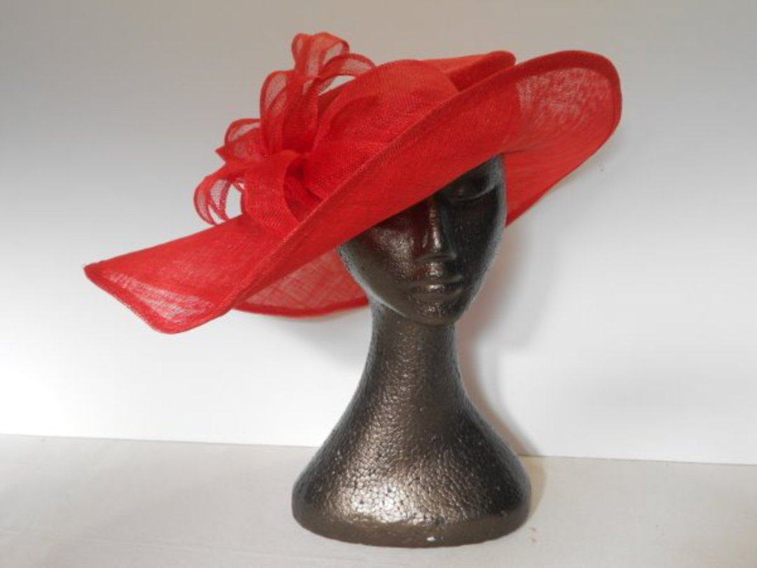 Red sinamay picture hat $245 image 0