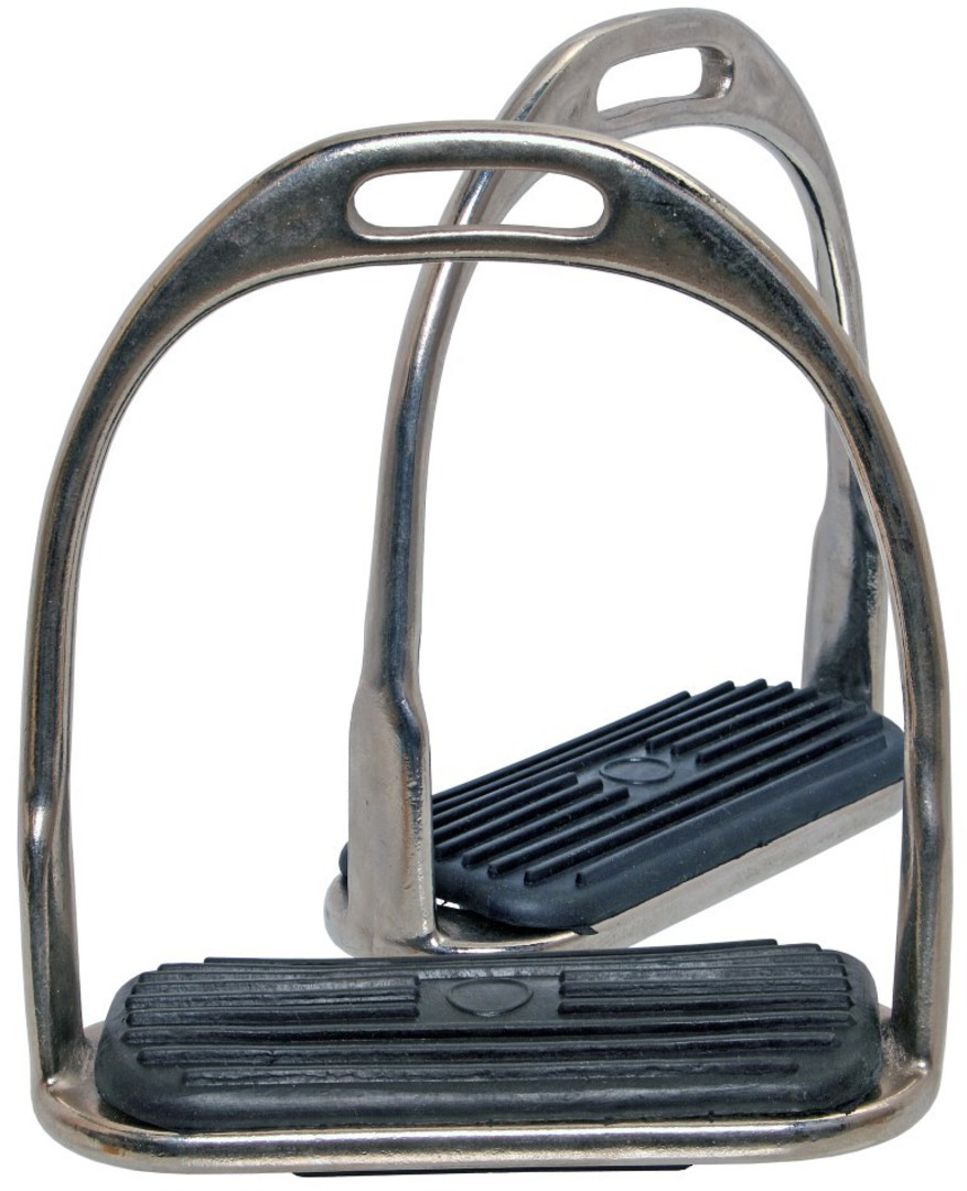 Blue Tag Nickel Plated Stirrup Irons Fitted With Rubber Treads image 0