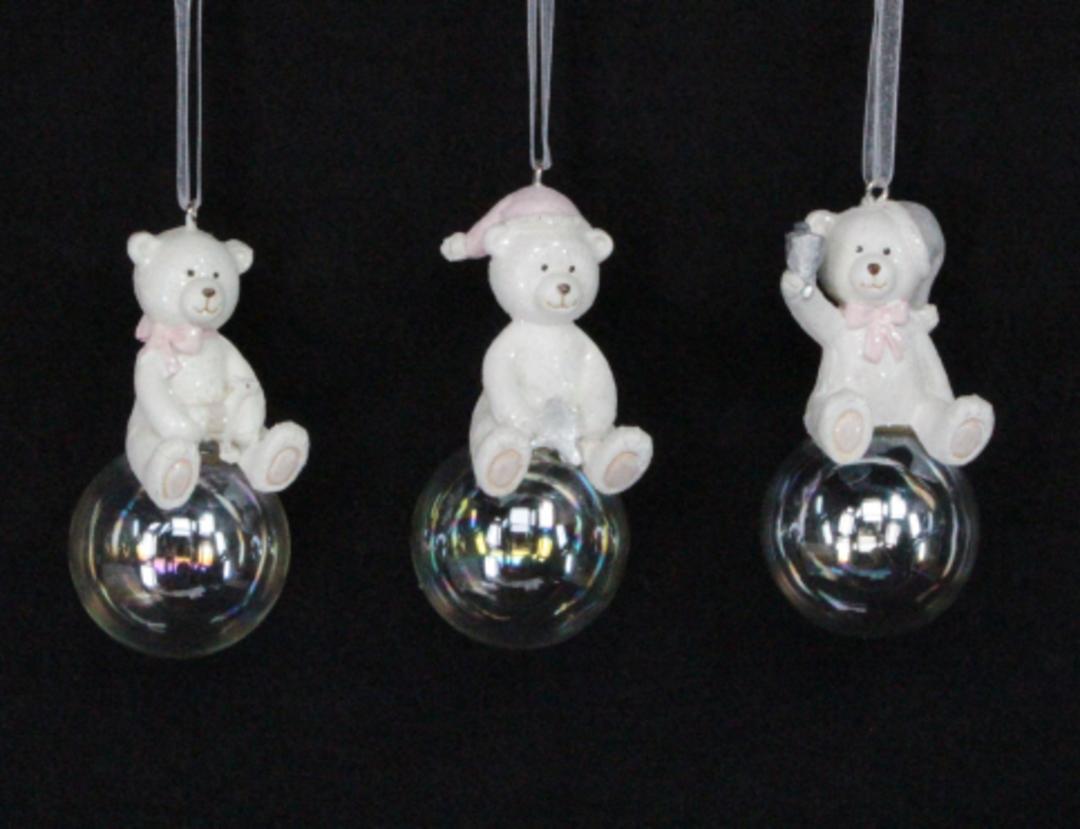 Resin Pastel Teddy on Soap Bubble 6cm image 0