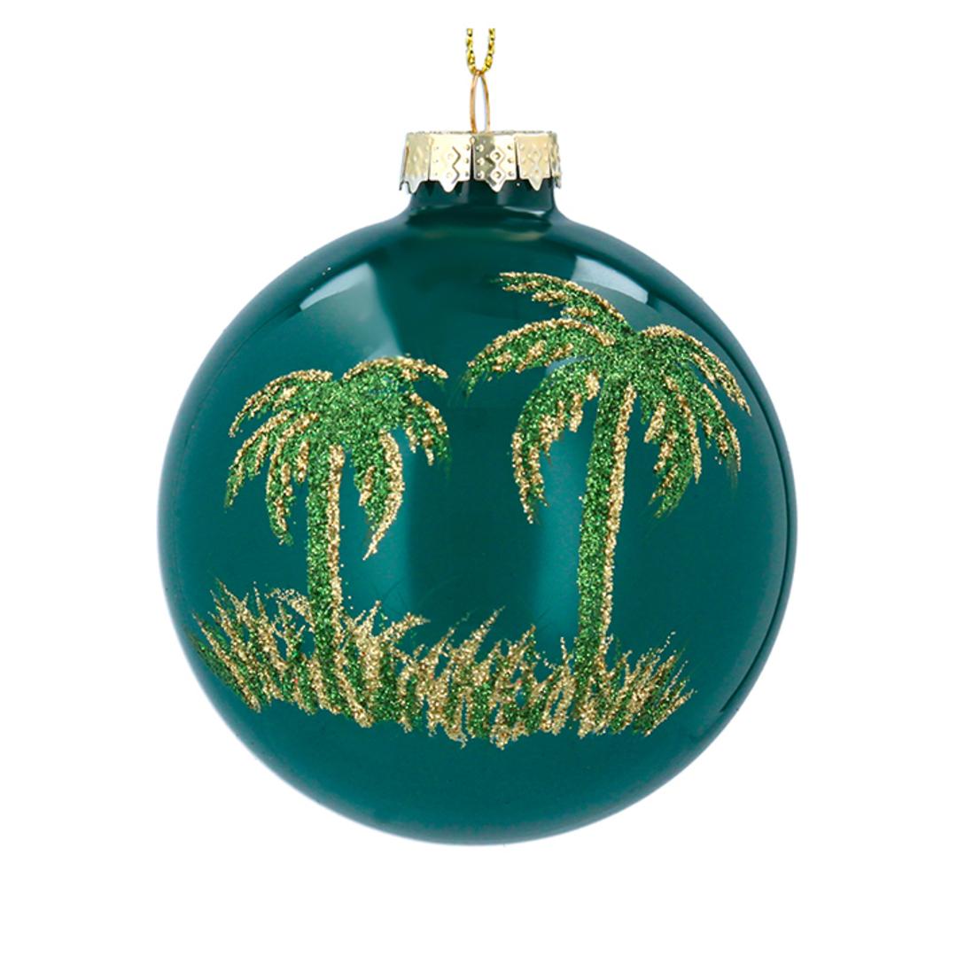 Glass Ball Green, Palm Tree 8cm image 0