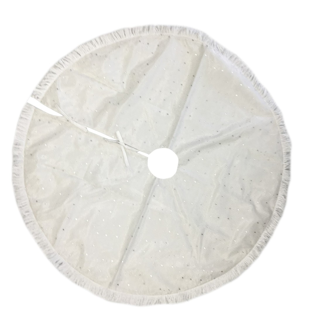 Xmas Tree Skirt, White with Silver Stars and White Fringe image 0