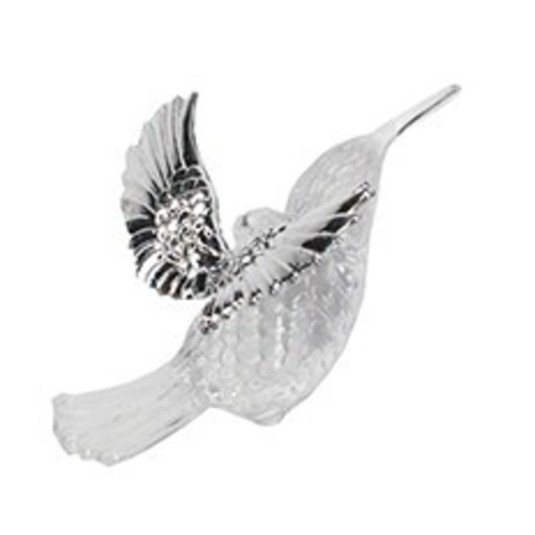 Clear and Silver Hummingbird 6cm image 0