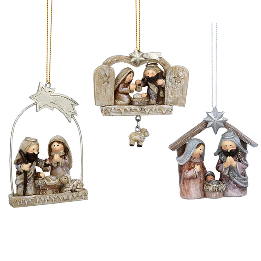 Wood Pastel Nativity 7cm image 0