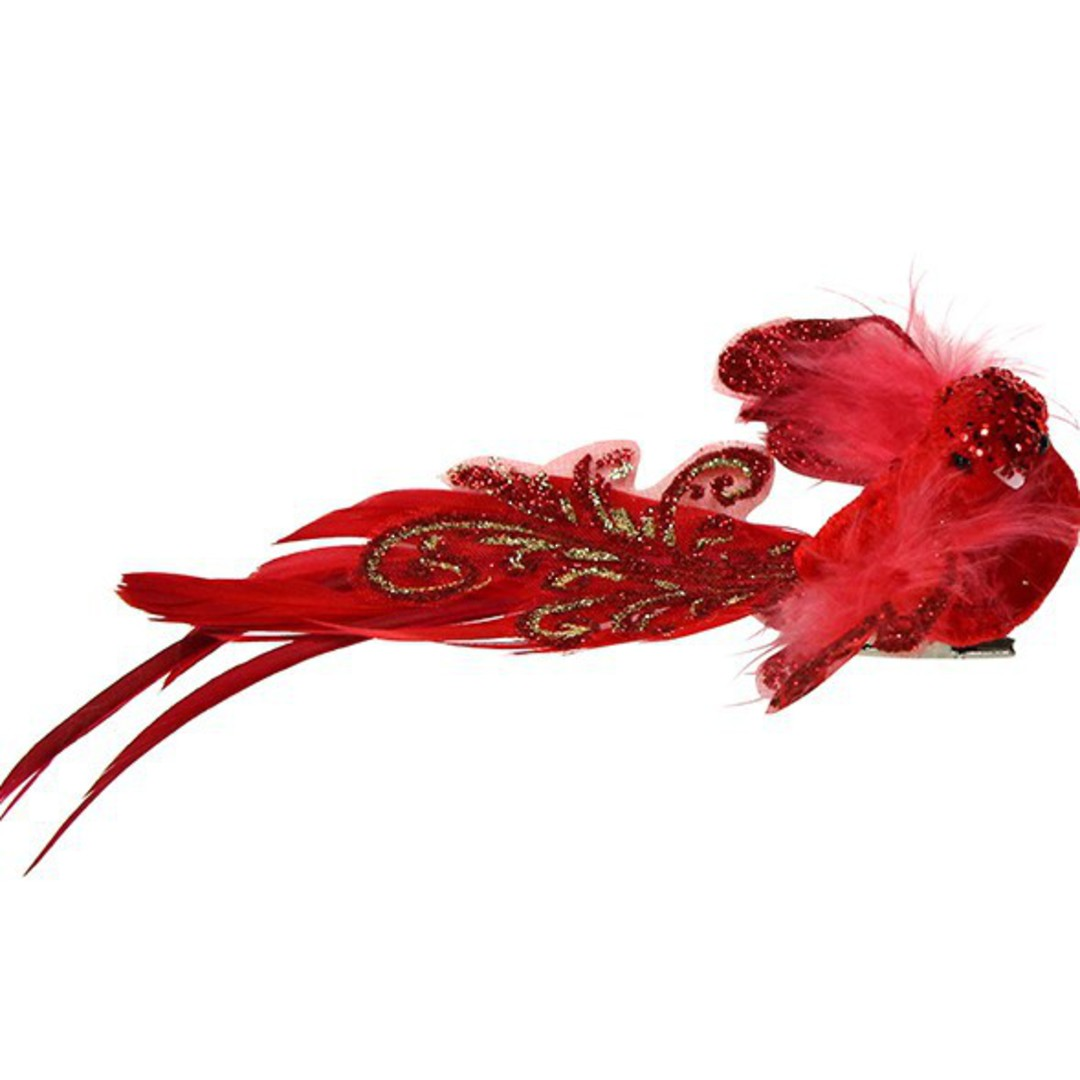 Clip, Red Feather Bird 14cm image 0
