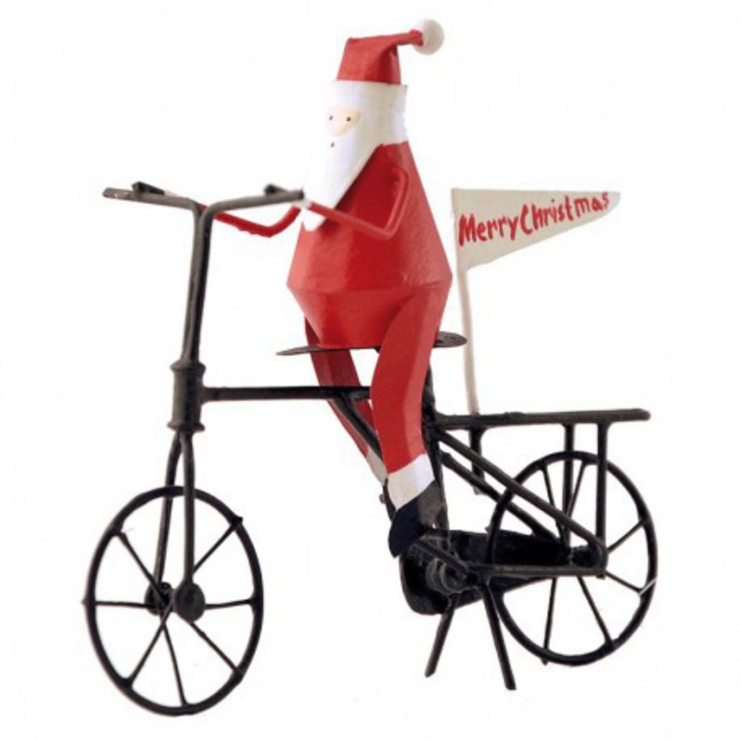 Tin Santa on Bicycle image 0