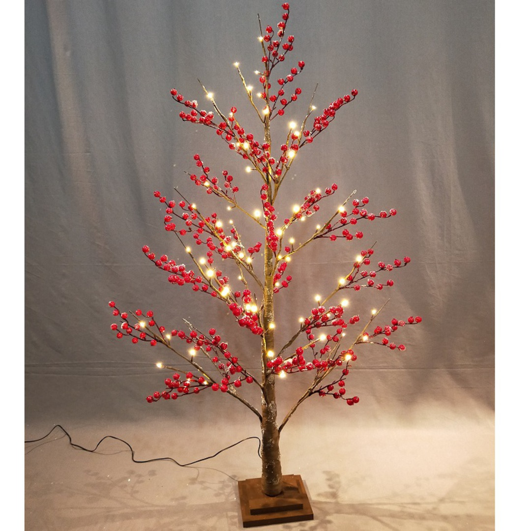 Red Berry Tree 1.2mtr, 72 LED Lights image 1