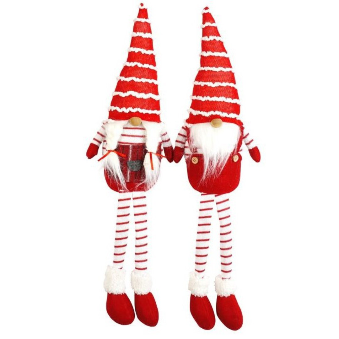 Plush Sitting Santa Long Legs with Stripe Hat and Legs image 0