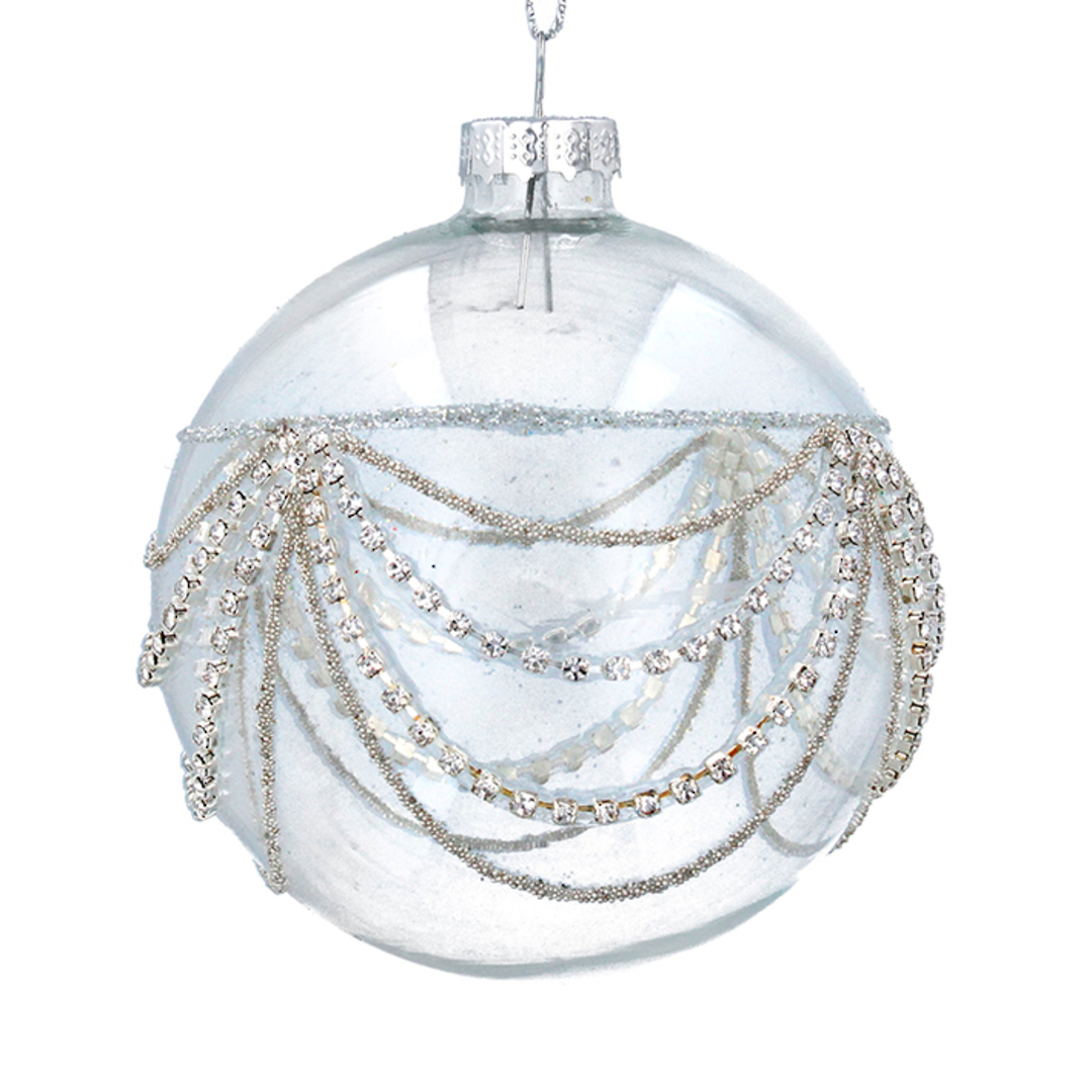 Glass Ball Clear, Silver Diamond Swags 8cm image 0