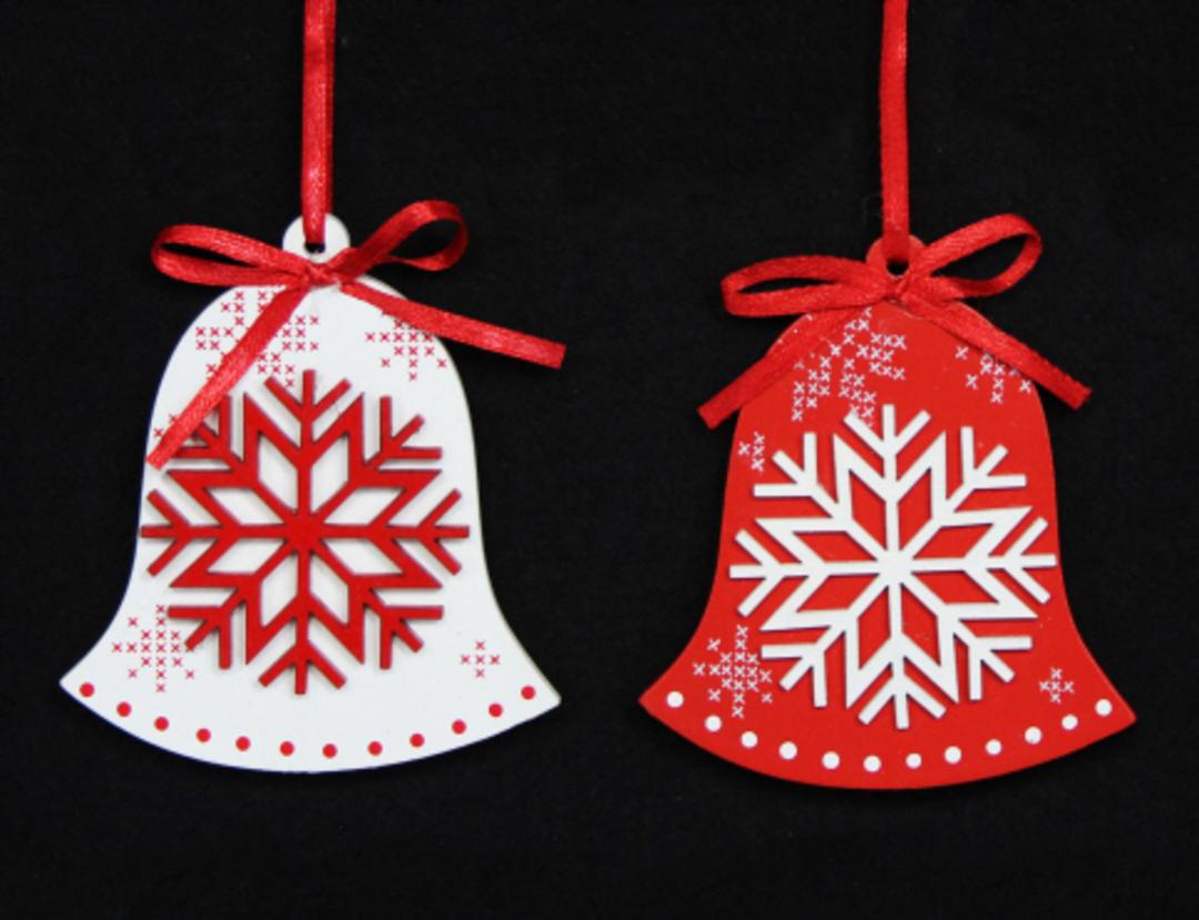 Wood Scandi Snowflake 2D Bell image 0