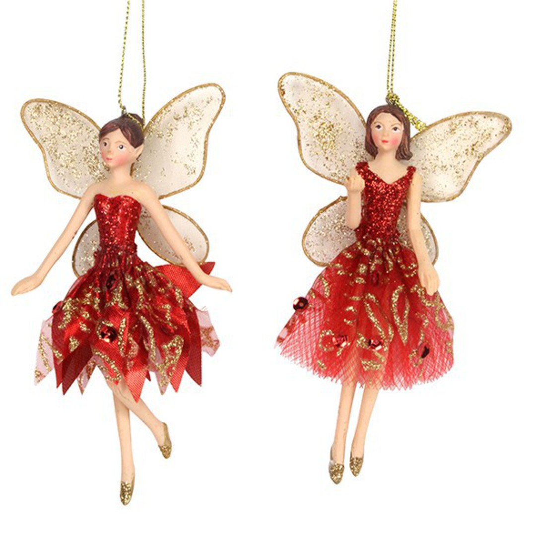 Resin Fairy with Red/Gold Fabric Dress 14cm image 0
