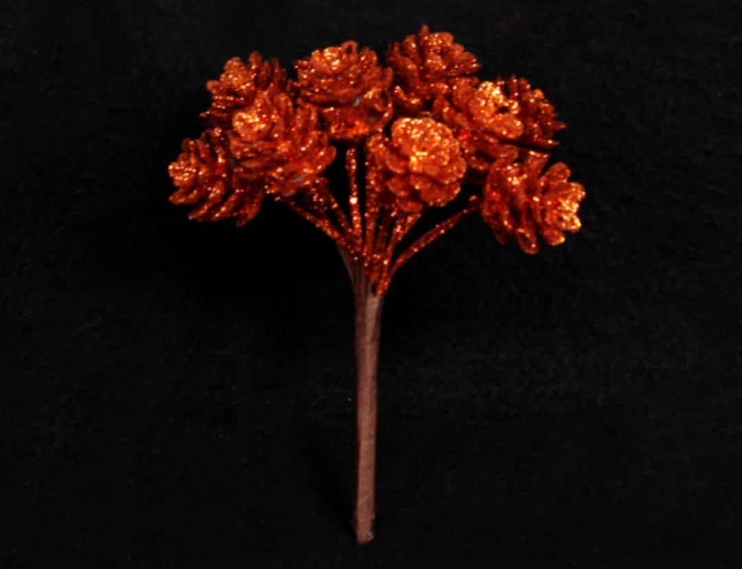 Copper Glitter Pine Cone Pick 8cm image 0