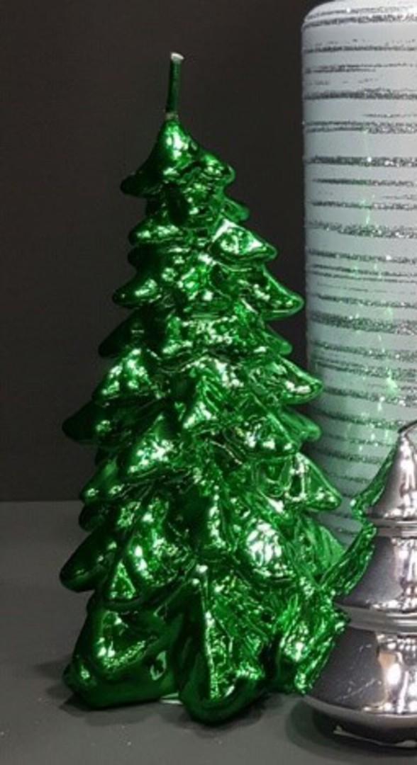 Metallic Christmas Tree Candle 150x75mm Green image 0
