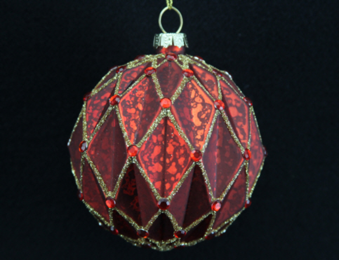 Glass Ball Matt Red, Rib Triangles with Gold 8cm image 0