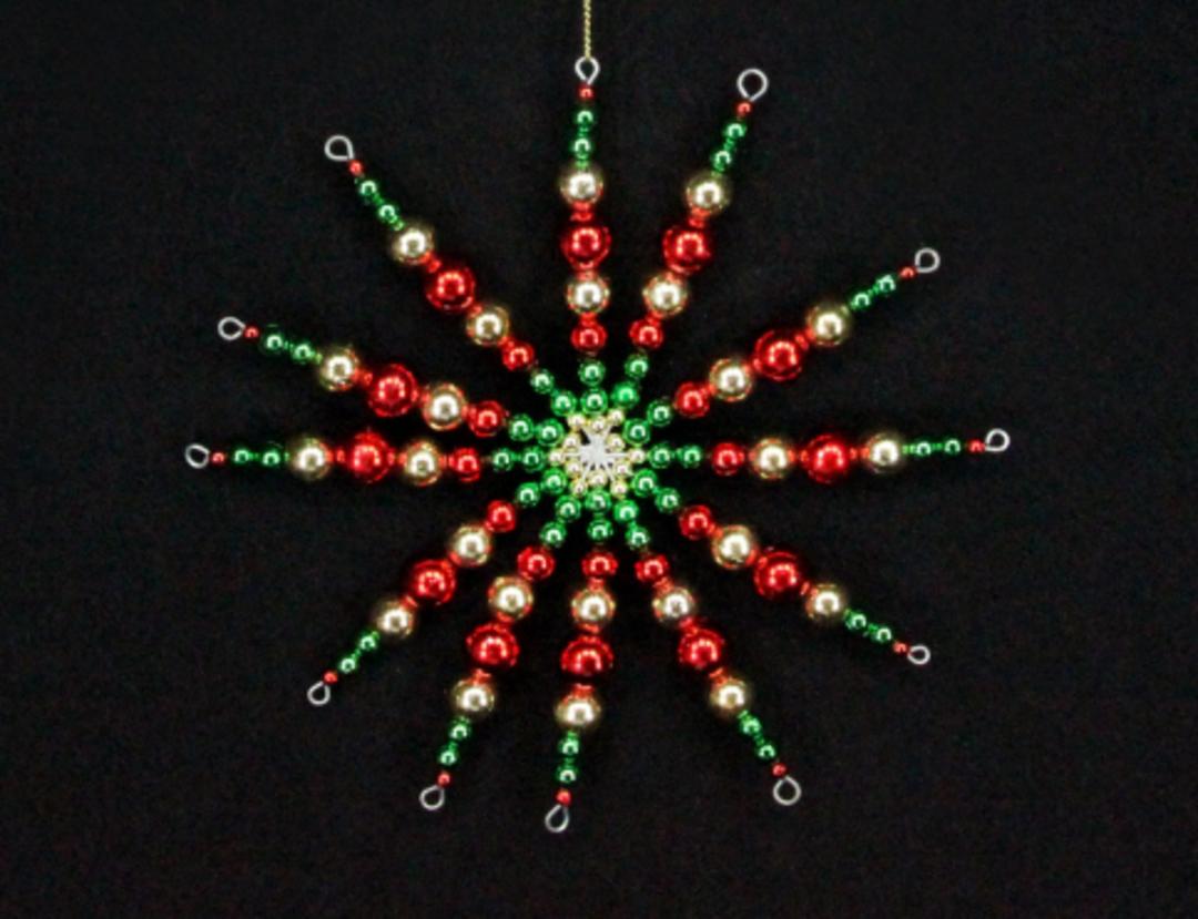 Beaded Starburst Red, Green, Gold 14cm image 0