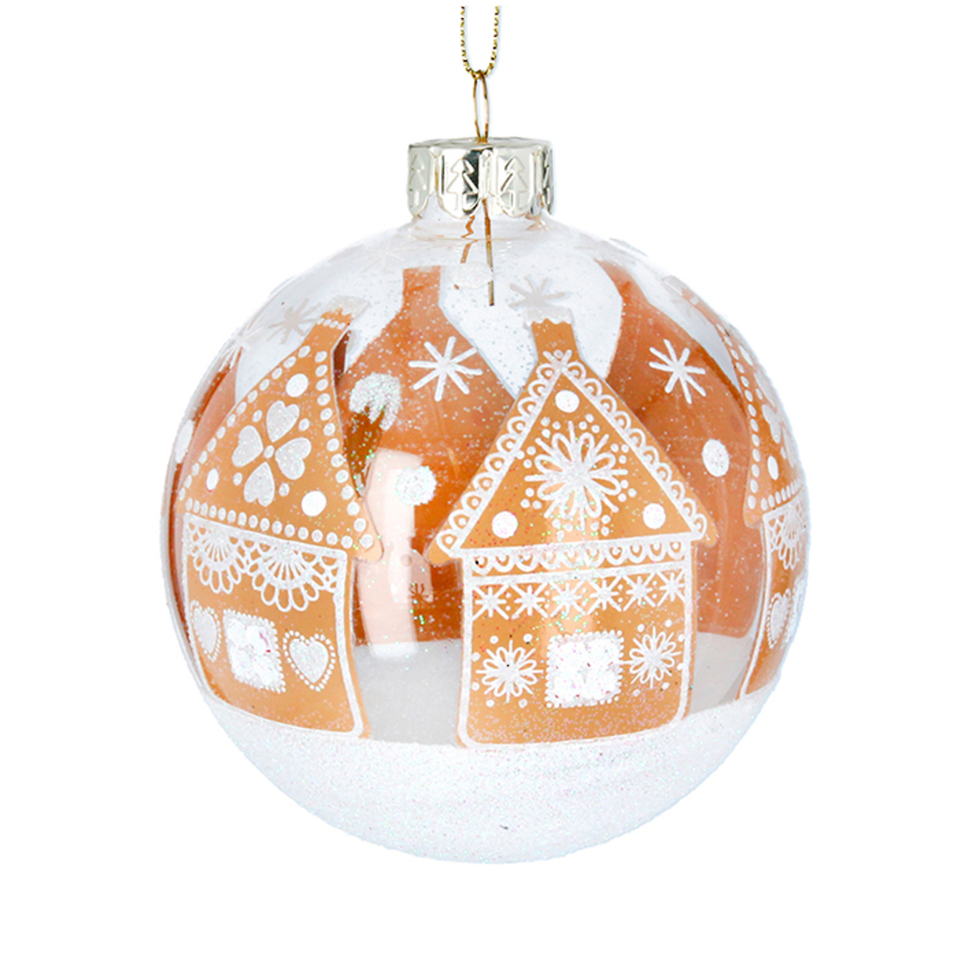 Glass Ball Clear, GingerBread House 8cm image 0