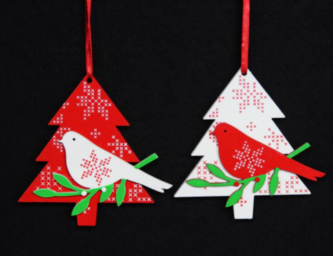 Wood Scandi Snowflake Tree w/ Bird image 0