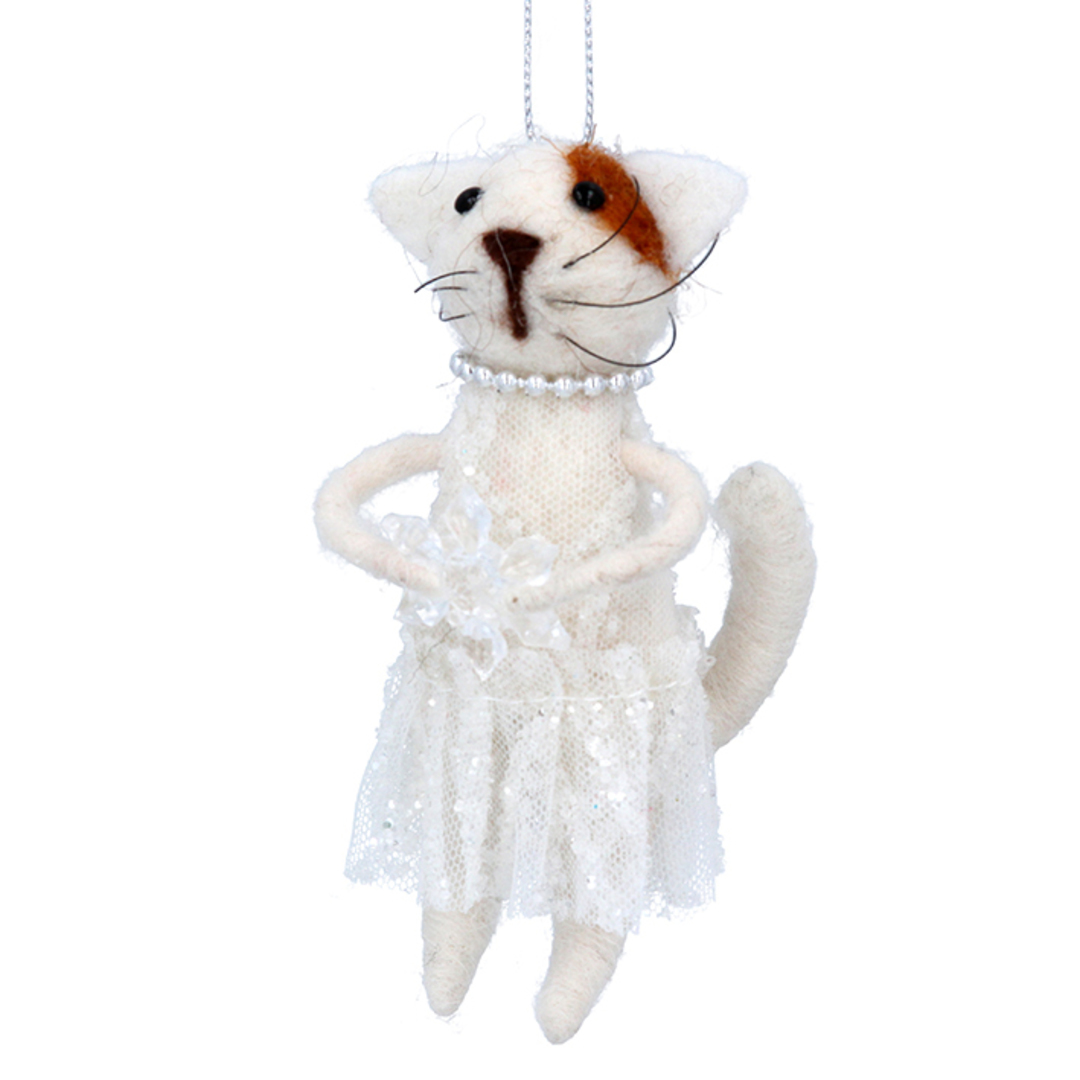 Wool Cat in Dress and Pearls 11cm image 0