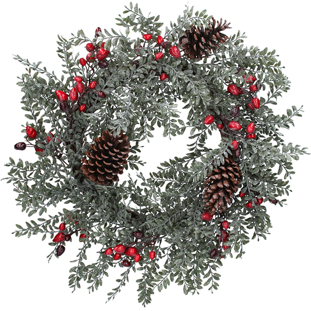 Frosted Pinecone and Rosehip Leaf Wreath 60cm image 0