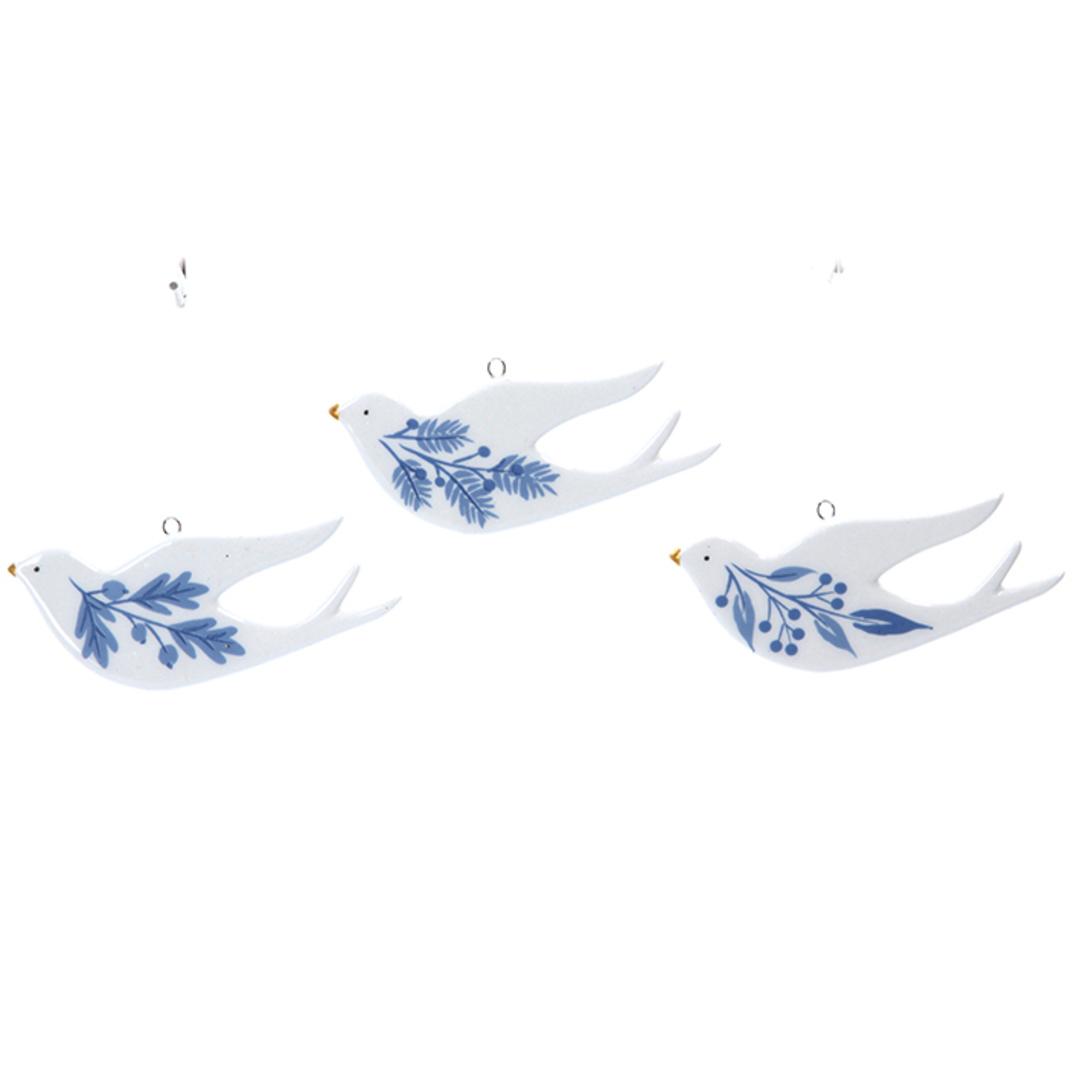 Ceramic White Blue Flat Dove 9cm image 0